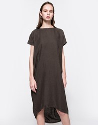 Black Crane Pleated Cocoon Dress Charcoal