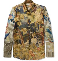Dries Van Noten Slim Fit Printed Satin Shirt Dark Green