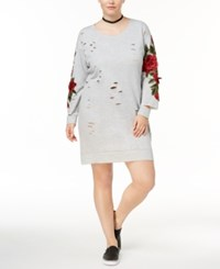 Almost Famous Trendy Plus Size Ripped Sweatshirt Dress Heather Grey