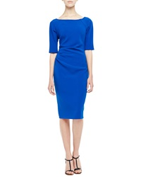 Lela Rose 3 4 Sleeve Ruched Dress Cobalt