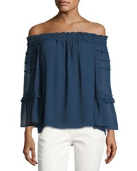 Max Studio Off The Shoulder Tiered Blouse Blue