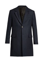 Ami Alexandre Mattiussi Single Breasted Wool Blend Coat Indigo