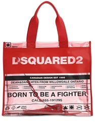 Dsquared Printed Pvc And Leather Tote Bag Red