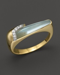 Kara Ross 18K Yellow Gold And Diamond Thin Hydra Stacking Ring With Blue Topaz And Mother Of Pearl Doublet