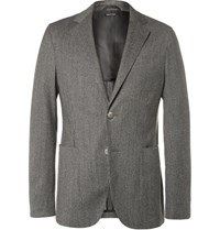 Giorgio Armani Grey Slim Fit Unstructured Houndstooth Jacquard Blazer Gray