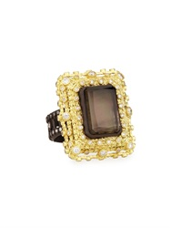 Armenta Old World Emerald Cut Quartz Black Mother Of Pearl And Diamond Ring