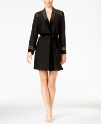 Thalia Sodi Velour And Lace Trimmed Wrap Robe Only At Macy's Deep Black