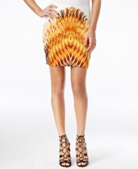 Guess Sonya Printed High Waist Mini Skirt Setting Sun