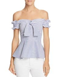 Lucy Paris Marianna Off The Shoulder Striped Peplum Top Blue White Stripe