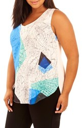 Rebel Wilson X Angels Plus Size Women's Sublimation Print Tank Shattered Geo White