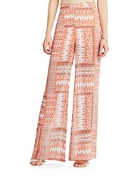 Bcbgeneration Patchwork Print Bell Bottom Pants Peach Rose Multi