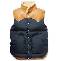 Rocky Mountain Featherbed Christy Leather And Shearling Trimmed Shell Down Gilet Blue