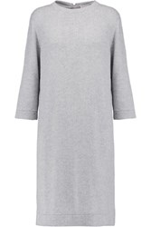 Brunello Cucinelli Sequin Embellished Cashmere And Silk Blend Dress Light Gray