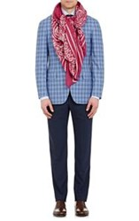 Barneys New York Men's Bandana Print Twill Square Scarf Red