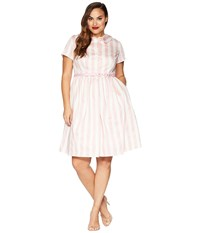 Unique Vintage Plus Size Regina Shirtdress Pink White Striped