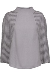 Halston Heritage Beaded Wool And Cashmere Blend Poncho Gray