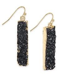 Inc International Concepts Gold Tone Druzy Crystal Bar Earrings Only At Macy's Black