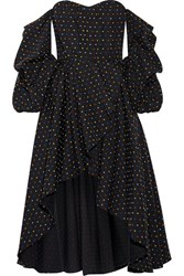 Caroline Constas Jia Jia Off The Shoulder Wrap Effect Swiss Dot Cotton Mini Dress Black