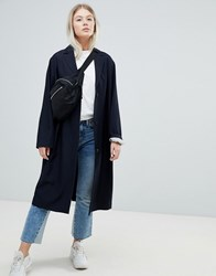 Weekday Lightweight Check Coat Navy