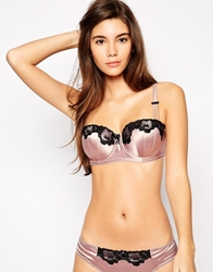 Lepel Victoria A G Pre Form Balcony Bra With Contrast Lace Powderpink