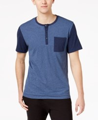 Bar Iii Men's Colorblocked Henley Pajama Shirt Created For Macy's Navy Heather
