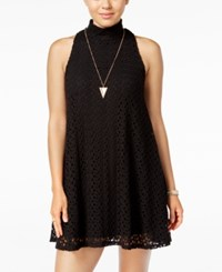 Planet Gold Juniors' Crocheted Shift Dress Black