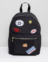 Asos Backpack With Embroidered Badges Multi