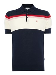 Peter Werth Men's Writer Multi Stripe Knitted Cotton Polo Navy