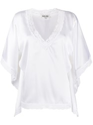 Max And Moi Silk Oversized Lace Trim Top White