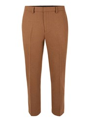 Topman Brown Camel Wool Blend Relaxed Fit Cropped Dress Pants