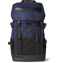 Ami Alexandre Mattiussi Wool Mesh And Leather Backpack Blue
