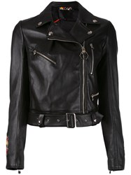 Philipp Plein Pekino Biker Jacket Women Lamb Skin Viscose S Black