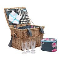 Joules Wicker Picnic Basket Grey Floral