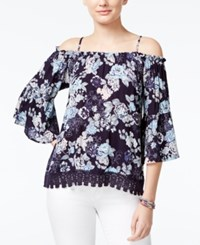 Almost Famous Crave Fame Juniors' Lace Trim Off The Shoulder Top Blue Combo