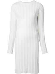 The Elder Statesman Sheer Stripe Knit Dress White
