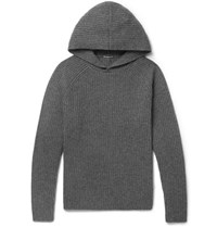 James Perse Ribbed Cashmere Hoodie Dark Gray
