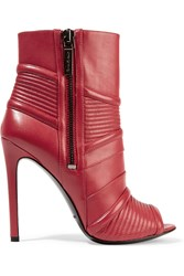 Balmain Quilted Leather Ankle Boots Red