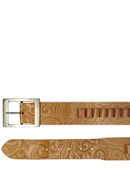 Etro Lasered Paisley Bullet Leather Belt Sand