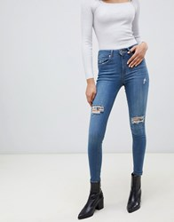 Miss Selfridge Skinny Jeans With Distressed Rips In Mid Wash Mid Wash Blue
