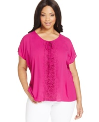 Ing Plus Size Short Sleeve Crochet Trim Blouse Orchid