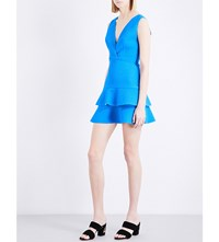 Sandro Ruffled Fit And Flare Woven Dress Azur Blue