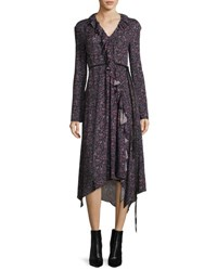 Magda Butrym Ferrara Long Sleeve Floral Print Silk Midi Dress Purple