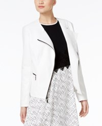 Alfani Prima Faux Leather Moto Jacket Only At Macy's Bright White