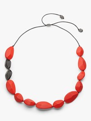 One Button Resin Teardrop Long Necklace Red