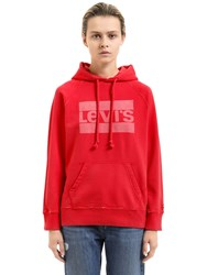 Levi's Hooded Logo Printed Cotton Sweatshirt Red