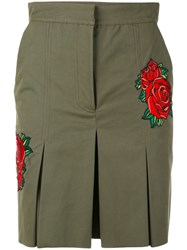 Each X Other Rose Embroidered Khaki Shorts Women Cotton Xs Green