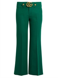 Gucci Gg Wool And Silk Blend Cady Kick Flare Trousers Green