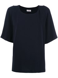 Alberto Biani Pleated Back T Shirt Blue