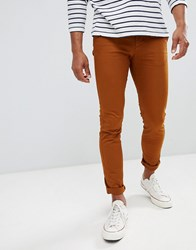 Celio Skinny Fit Chino In Rust Brown