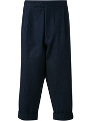 J.W.Anderson J.W. Anderson Front Pleat Cropped Trousers Blue
